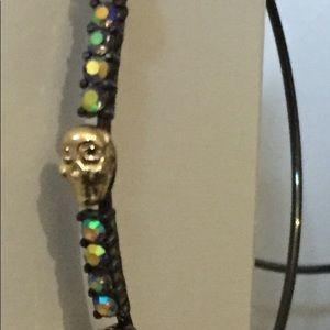 Betsey Johnson crystal & skull hoop earrings